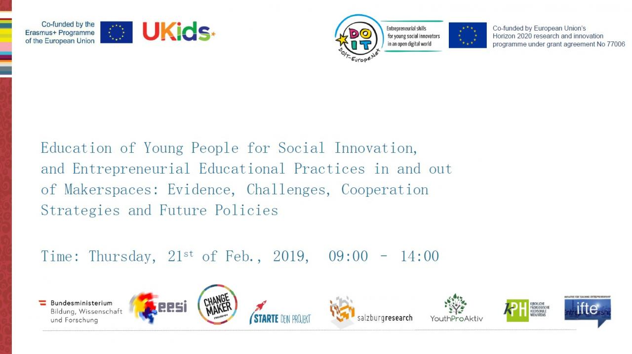 Programme front page: Expert meeting on Education of Young People for Social Innovation, and Entrepreneurial Educational Practices in and out of Makerspaces